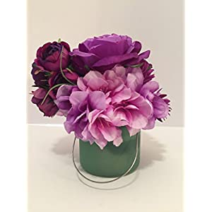 PURPLE ROSES AND ZINIAS WITH PURPLE/WHITE RHODODENDRON IN A GREEN GLASS VASE 79