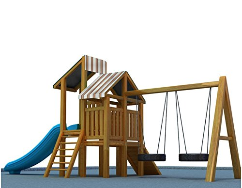Shatex 43'x90' Waterproof Canopy Kits for Backyard Wood Playset Swing Set Orange Stripes
