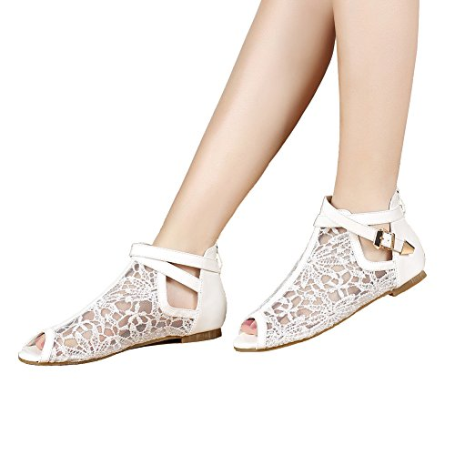 (getmorebeauty Women's White Pretty Lace Flats Wedding Shoes Flowers with Ankle Strap Sandals 8 B(M) US)
