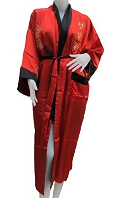 Two Sided Chinese Red Silk Dragon Robe
