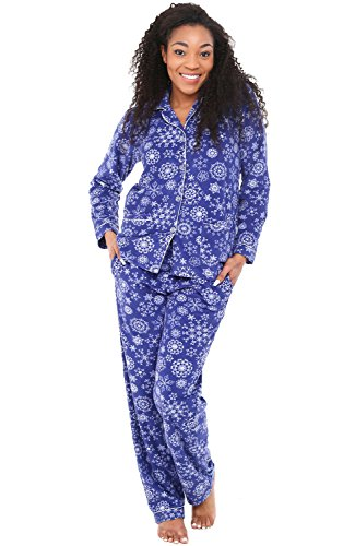 Fleece Button (Alexander Del Rossa Womens Fleece Pajamas, Long Button Down Pj Set, Small Royal Snowflakes (A0324Q57SM))