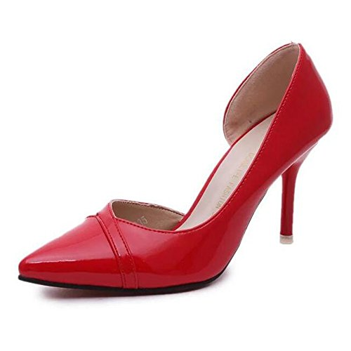 Angelliu Womens Leather Point Toe Stiletto Heels Sandals for Wedding Party Red wOJlOAEnR
