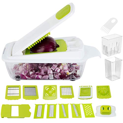 WellFree Heavy Duty Multi-Functional Vegetable Chopper & Dicer | Mandolin Slicer, Cutter and Grater with 12 Stainless Steel Blades | Food Container & Storage Lid | Ultimate Kitchen Slicing Tool