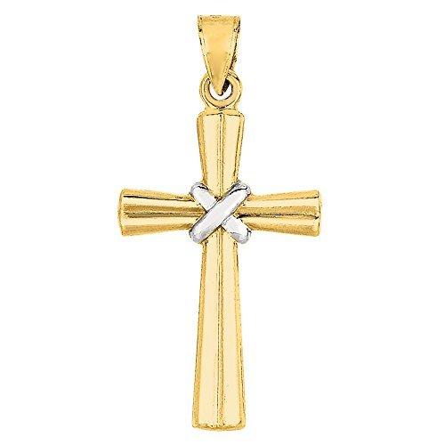 Gold Shiny Finish - 14k 2 Tone Gold Shiny Finish Cross Pendant
