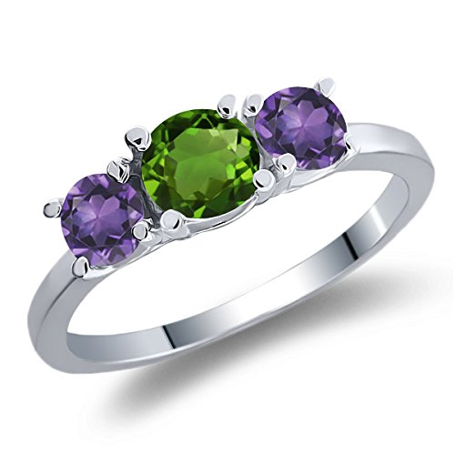 1.00 Ct Round Green Chrome Diopside Purple Amethyst 925 Sterling Silver Ring