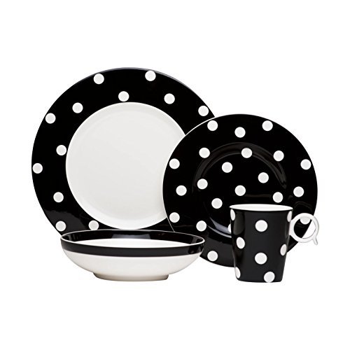 Red Vanilla 4 piece Freshness Dots Place Setting Coupe Bowl, Black by Red Vanilla