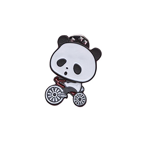 Fashion Panda on Bicycle Tiny Enamel Pin Brooch Cute Animal Cycling Metal Great Gift (Bike Pin)