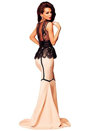 New Ladies Long Rosa y Negro pestañas Lace Peplum vestido de noche vestido de cóctel Prom tamaño L UK 12UE 40