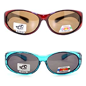 2 Pair of Women's Polarized Fit Over Oval Sunglasses - Wear Over Prescription Glasses (Blue and Red) 2 Carrying Cases Included