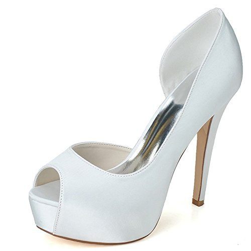 Qingchunhuangtang@ Alta Moda Mujer Peep Toe Bombas Boda Vestido de Fiesta Stiletto Slip en Zapatos,Blanca,39 39 Blanco