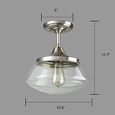 CLAXY Ecopower Vintage Brushed Nickel Glass Ceiling Light 1-Light Pendant Lighting