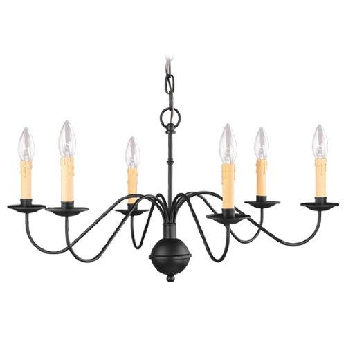 Heritage Rustic Collection - Livex Lighting 4450-04 Heritage 6 Light Black Chandelier