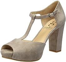Gadea 40677, Zapatos de Tacón con Punta Abierta para Mujer, Gris (Ante Stone), 39 EU