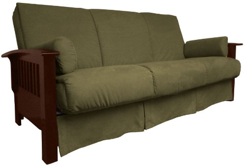(Brentwood Mission-Style Perfect Sit & Sleep Pocketed Coil Inner Spring Pillow Top Sofa Sleeper Bed, Queen-size, Walnut Arm Finish, Microfiber Suede Olive Green Upholstery)