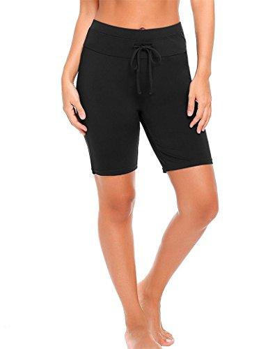 Goldenfox Board Shorts Women's Smooth Boyshorts Back Pocket Tankini Bottoms (Black,Medium) by Goldenfox