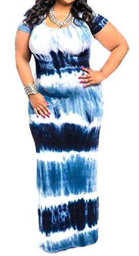 Slim Fit Tie Western Neck Women Picnic Coolred Dye Blue Oversized O Dress Hq5w4EB