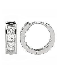 Sterling Silver Princess-cut Cubic Zirconia Baby Huggies Hoop Earrings 3.5x9 Mm