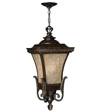 Hinkley 1932RB-GU24 Outdoor Pendant 1 Light With Regency Bronze Amber Linen Glass Cast Aluminum GU24 12 inch 26 Watts