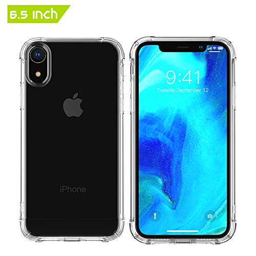[6.5 Inch] GLOUE Compatible with iPhone Xs MAX Case, Crystal Clear Case, Shock-Absorption Bumper Cover,[Airbag Corners TPU Bumper Cushion + Hybrid Rugged Transparent Panel Cover] (Clear-1) For Sale