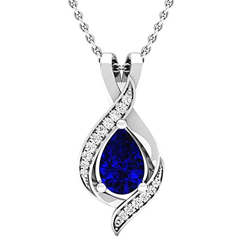 Round Blue Sapphire Pendant - 4