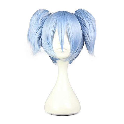 (COSPLAZA Women's Short Straight Blue Anime Convention Fan Costuming Disguise Cosplay Wig with Clip On)