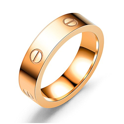 Dubeauty Love Ring Lifetime Titanium Stainless Steel Couples Wedding Engagement Anniversary Engraved Bands Rose Gold Size (Gold Couples Ring)