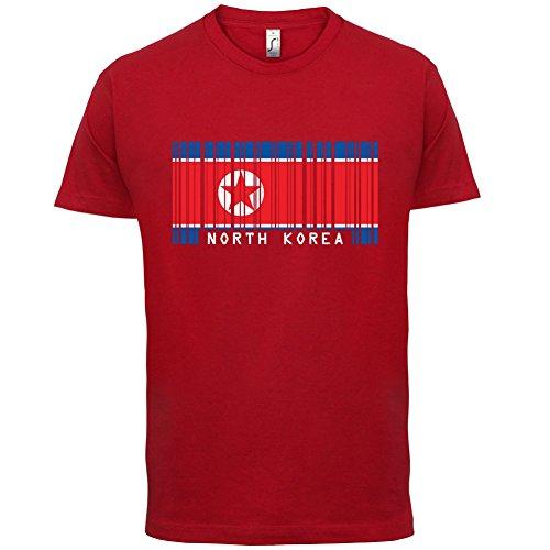 North Korea / Nordkorea Barcode Flagge - Herren T-Shirt - Rot - S