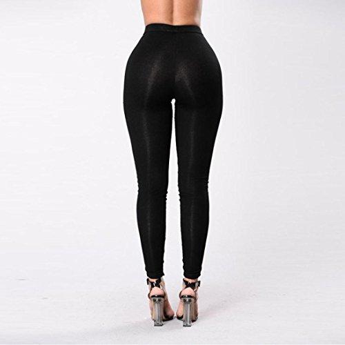 HARRYSTORE Mujer vendaje pantalones elásticos y apretados de lápiz de alta cintura Polainas Leggings Pantalones delgados Negro