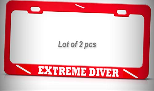 Set of 2 Pcs - Extreme Diver Tag Holder License Plate Frame Decorative Border Love Turtle Scuba Diving RED Tag Metal by Man Cave Decorative Signs