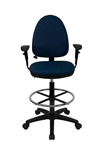 Offex Mid-Back Fabric Multi-Functional Drafting Stool with Arms and Adjustable Lumbar Support, Navy ()