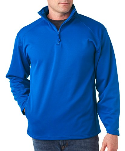 Badger Fleece Sweatshirt - Badger Mens 1/4-Zip Polyester Pullover Fleece (1480) -ROYAL -L