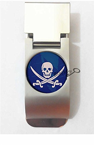 BlackKey Pirate Skull Crossed Swords Pattern Metal Clip for Receipt, Money, Business Card & Credit Card, Style 1 -95 (Pirates Clip Paper Holder)