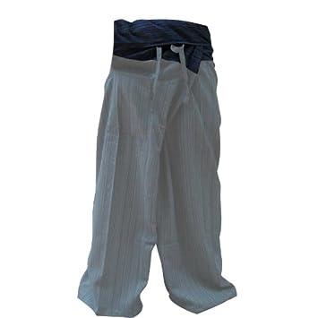 0ef8ed169edc3 2 TONE Thai Fisherman Pants Yoga Trousers FREE SIZE Plus Size Cotton Drill  Striped GRAY and Dark Blue  Amazon.ca  Patio