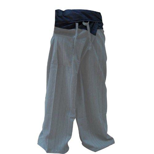 2 TONE Thai Fisherman Pants Yoga Trousers FREE SIZE Plus Size Cotton Drill Striped GRAY and Dark Blue Thailand