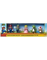Super Mario, Mario, Luigi, Prinsessan Peach, Yoshi & Toad, exklusiv 6 cm minifigur 5-pack