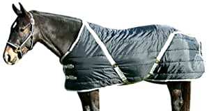 High Spirit Snuggie Pony Stable Blanket, Black/Silver, 56-Inch