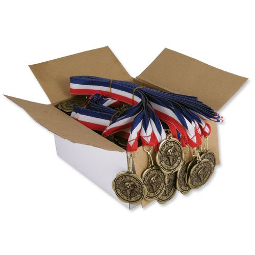 Set of 100 Award Medals with Neck Ribbons - Academic Excellence by Jones School Supply Co., Inc. (Image #1)