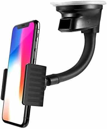 ec5446c26a9a26 Premium Car Mount Dash Windshield Phone Holder Window Rotating Dock Stand [Strong  Grip Gooseneck]