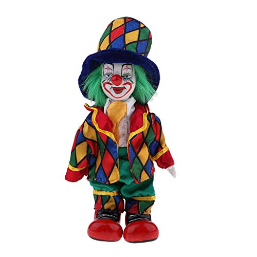 Prettyia 18cm Funny Clown Porcelain Joker Doll Halloween Decoration Ornaments Home Table Desk Top Decor #2 ()