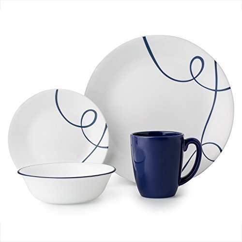 Corelle 16 Piece Lightweight and Chip Resistant Livingware Dinnerware Set, Lia Blue (Best Chip Resistant Dinnerware)