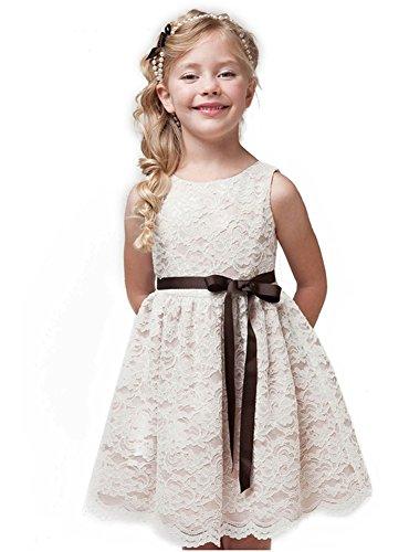 - Shop Ginger Wedding Ivory Flower Girl Dress Lace Bow Sash Children Communion D6 (3T, Brown Ribbon)