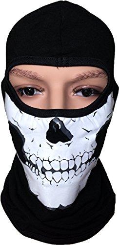 Full Face Cover Balaclava Skull Print Fleece Devil Protecting Plain Mask , Black
