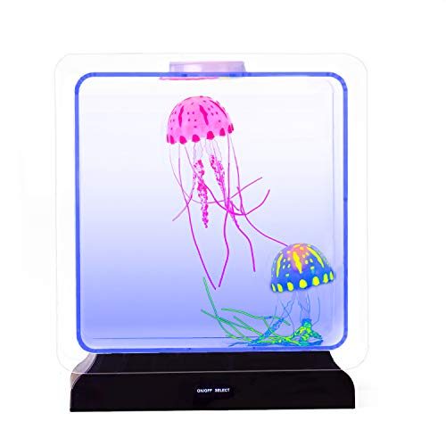 Playlearn USA Jellyfish Lamp Tank Aquarium - Mood Night Night for Kids. LED Lights Changing Color. Comes with 2 Jelly Fish. ()