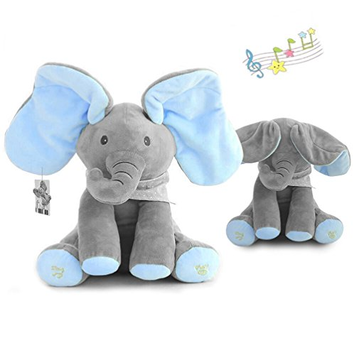 Blue Elephant Stuffed Animal (yuailiur Peek-a-Boo Elephant Animated Talking Singing Stuffed Plush Elephant Stuffed Doll Toys Kids Gift Present Boys & Girls Birthday Xmas Gift)