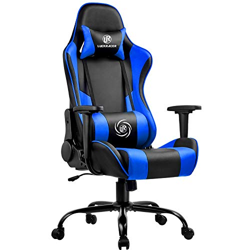 LUCKRACER Gaming Chair Office Chair Swivel Heavy Duty Chair Ergonomic Design with Cushion and Reclining Back Support…