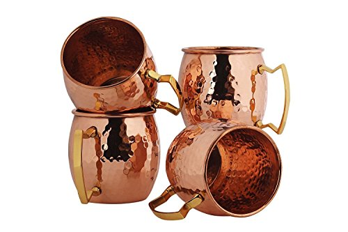RV Hammered Copper Moscow Mule Mug with Brass Handle, 18oz (Body Art Panthers)