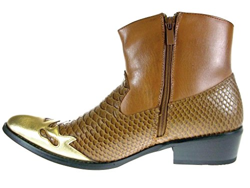 ... Alfa Menns M1794 Korte Westren Cowboystøvler Faux Slange Hud Brun ...