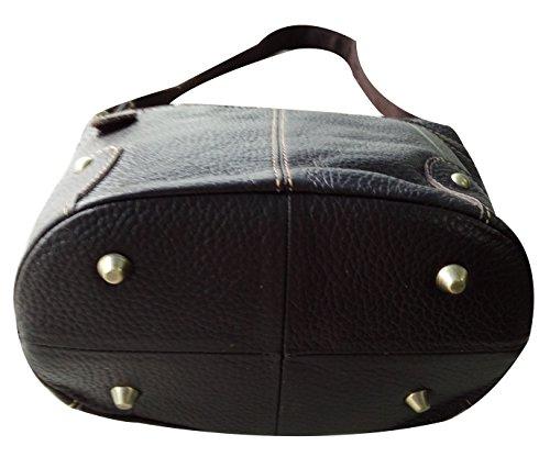 Genuine Satchel ilishop OL 2016 Simple Vintage Leather Women's Bag Zippered Shoulder Handbag Coffee AAxE6qHz