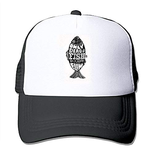 Adults Mesh Only Dead Fish Print Sun Hat Trucker Baseball Cap Hat -