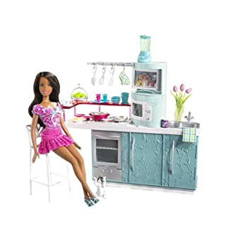 amazoncom barbie kitchen u0026 doll kitchen gift set african american toys u0026 games